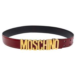 Moschino Red Glossy Leather Classic Logo Belt 80CM
