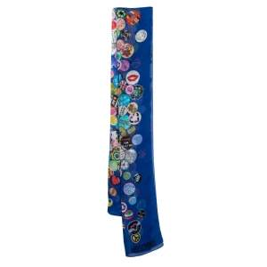 Moschino Blue Badge Print Sheer Silk Stole