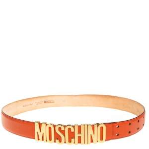 Moschino Orange Grained Leather Classic Logo Belt 95 CM