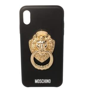 Moschino Black Leather Lion Head Handle iPhone XS Max Case