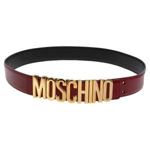حزام موسكينو جلد لامع أحمر مزين شعار الماركة كلاسيكي 100 سم
