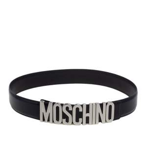 Moschino Black Leather Classic Logo Belt 95 CM