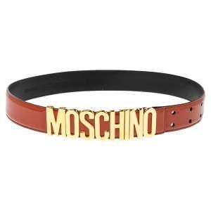 Moschino Mahogany Brown Glossy Leather Classic Logo Belt 75CM