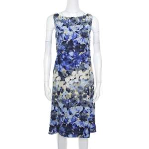 Moschino Blue Floral Printed Linen Silk Bateau Neck Shift Dress S