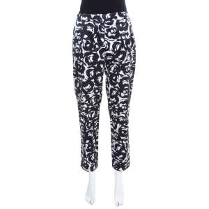 Moschino Monochrome Rose Printed Satin Tailored Trousers M