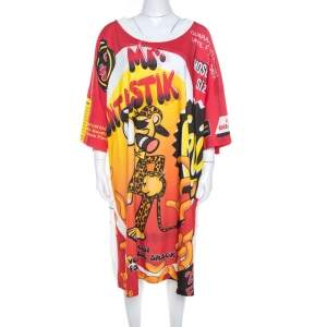 Moschino Couture Multicolor Mr.Funtastik Printed Cotton Oversized T-Shirt Dress M