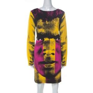Moschino Couture Multicolor Crepe Face Print Shift Dress L