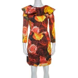 Moschino Red Floral Printed Taffeta Ruffle Detail Short Dress L