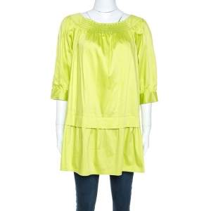 Moschino Green Cotton Drop Waist Tunic Top S