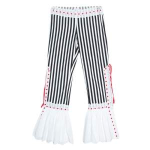 Moschino Black & White Striped Cotton Lace Detail Ruffled Capri Pants M