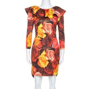 Moschino Red Floral Printed Taffeta Ruffle Detail Short Dress M