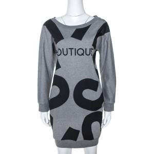 Moschino Boutique Grey Boutique Print Cotton Jumper Dress S
