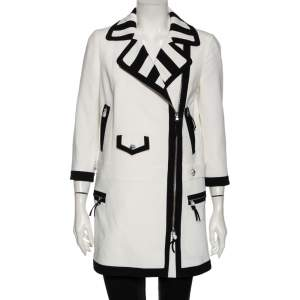 Moschino White Crepe Contrast Trim Detail Zip Front Coat M