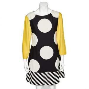 Boutique Moschino Multicolor Polka Dot Printed Crepe Paneled Shift Dress L