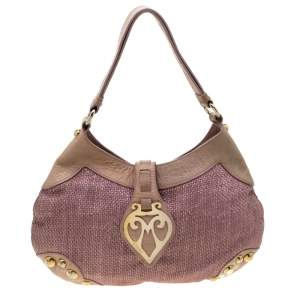 Moschino Pink/Beige Jute and Leather Hobo