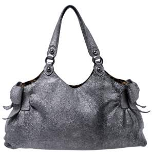 Moschino Silver Glitter Leather Cheap and Chic Tote