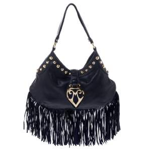 Moschino Navy Blue Leather Studded Fringe Hobo