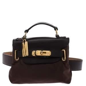 Moschino Brown Nylon and Leather Belt-Crossbody Bag