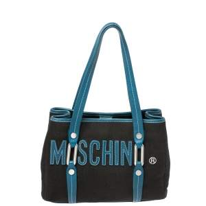 Moschino Blue/Black Canvas and Leather Trim Mini Tote