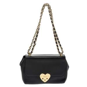 Moschino Black Leather Heart Clasp Shoulder Bag
