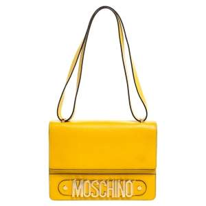Moschino Mustard/Yellow Grained Leather Logo Flap Shoulder Bag