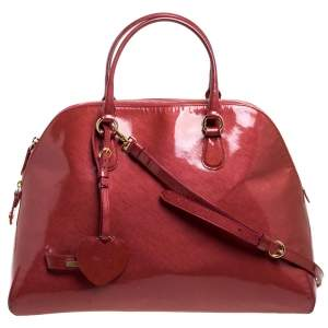 Moschino Cinnamon Red Patent Vinyl Heart Charm Dome Satchel