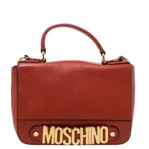 Moschino Burnt Orange Leather Logo Flap Shoulder Bag