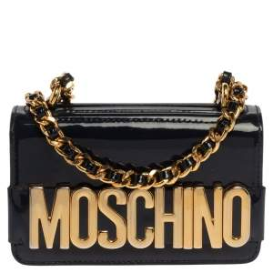 Moschino Navy Blue Patent Leather Flap Crossbody Bag