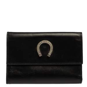 Moschino Black Leather Horseshoe Buckle Crystal Embellished Flap Compact Wallet