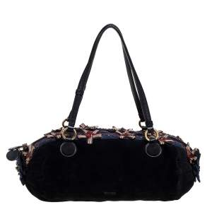 Moschino Black/Blue Suede and Fabric Bow Embellished Satchel