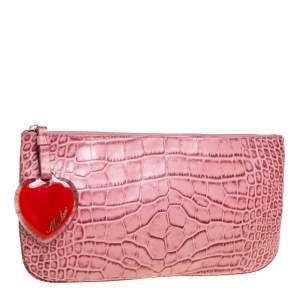 Moschino Pink Croc Embossed Leather Clutch