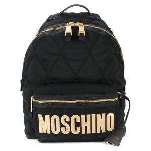 Moschino Black Quilted Nylon Neoprene Logo Backpack