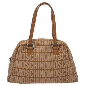 Moschino Brown Signature Canvas Zip Bowler Bag