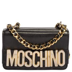 Moschino Black Leather Mini Logo Flap Chain Shoulder Bag