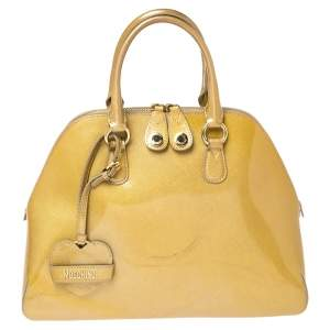 Moschino Gold Patent Leather Satchel