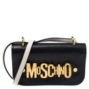 Moschino Black Leather Small Logo Flap Crossbody Bag