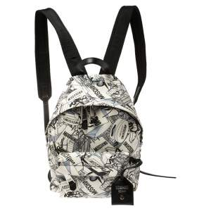 Moschino Multicolor Printed Coated Canvas Front Pocket Backpack