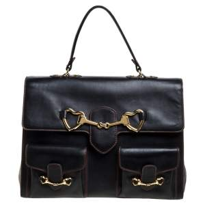 Moschino Black Leather Heart Buckle Double Flap Top Handle Bag