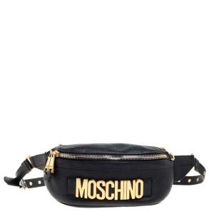 Moschino Black Pebbled Leather Logo Belt Bag