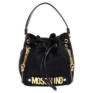 Moschino Black Nylon and Leather Bucket Bag