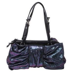 Moschino Holographic Iridescent Leather Satchel