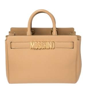 Moschino Beige Leather Logo Plaque Tote
