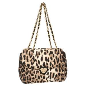 Moschino Brown Leopard Print Satin Flap Shoulder Bag
