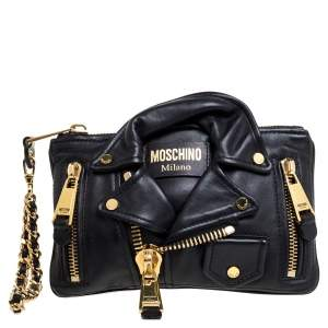 Moschino Black Leather Jacket Wristlet Clutch
