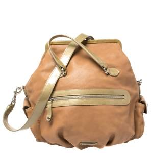 Moschino Brown/Green Patent and Leather Kisslock Frame Shoulder Bag