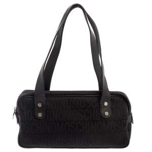 Moschino Black Signature Canvas And Leather Heart Zip Shoulder Bag