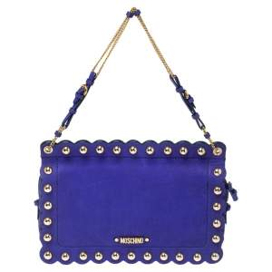 Moschino Blue Studded Leather Flap Shoulder Bag