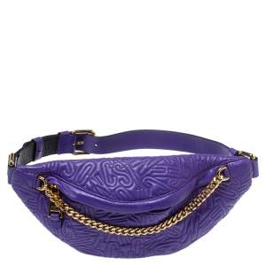Moschino Purple Embossed Leather Chain Belt Bag