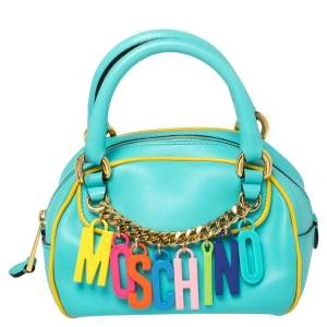 Moschino Turquoise/Yellow  Leather Logo Charm Satchel