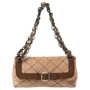 Moschino Beige/Brown Suede And Leather Buckle Flap Shoulder Bag